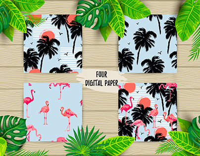 Seamless patterns with palm tree and pink flamingos.