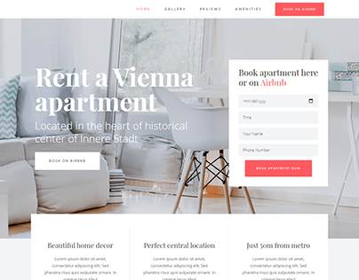 Vacation Rental One Page WordPress Business website