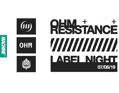 Ohm Resistance Label Night