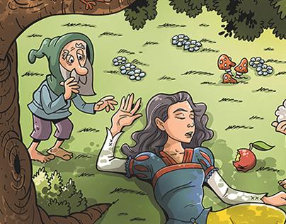 Snow White book illustration for children