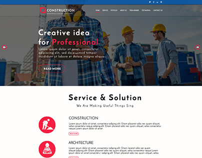 Construction Web UI/UX Design