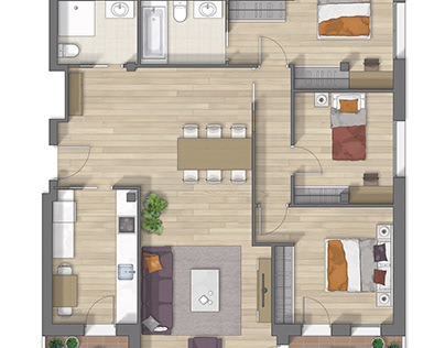 Floor plan 2D rendering in Vizcaya