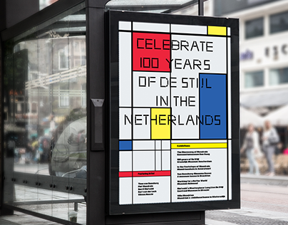 STUDY ABROAD AMSTERDAM 100 years of de stijl poster ser