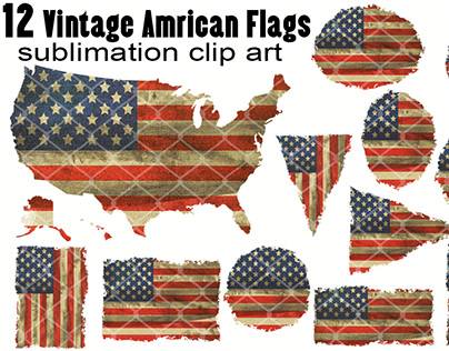 Vintage American Flag Sublimation Clipart PNG Elements