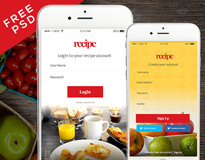 Free recipe app ui psd for ios and android follow on behance forumfinder Image collections