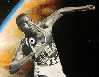 rafer johnson is throwing planets (handmade collage)