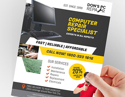 Computer Repair Specialist Flyer Poster Template