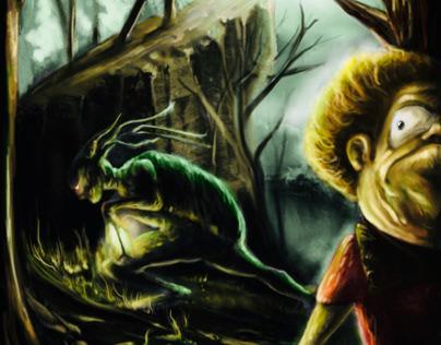 Jugando a las escondidas en el bosque.