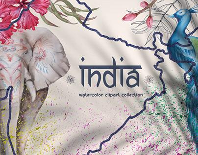 India. Watercolor
