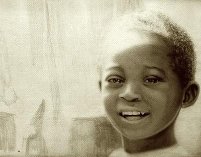 Niños africanos con lapiz