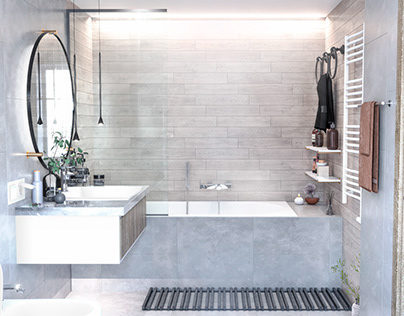 Bathroom in mansion house by AIR Studio