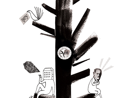 Mr. Freud in a tree - illustration for Kuledibi Mag