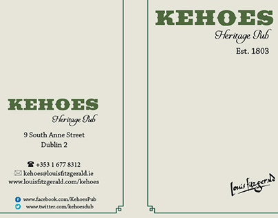Kehoes Heritage Pub, Dublin-drinks menu design