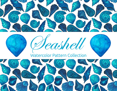 Seashell Watercolor Pattern Collection