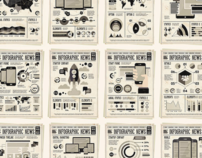 Vintage Newspapers with Infographic Elements