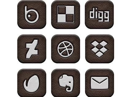 Stitched Style Media Icons Set