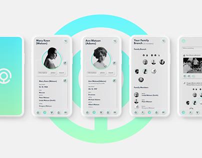 ONETREE app. Genealogical social network