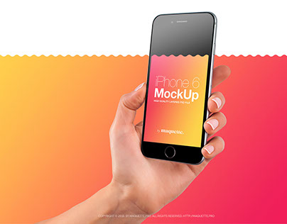 iPhone 6s in Female Hand PSD Mockup