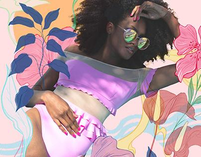 Fashion illustration photo collage collaboration