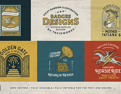 8 random illustration and badges designs