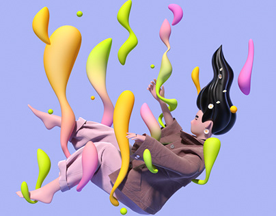 3D illustrations-Flower and girls