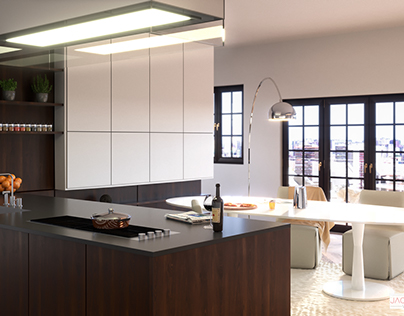 Open space kitchen by Poliform Varenne Twelve. | CGI