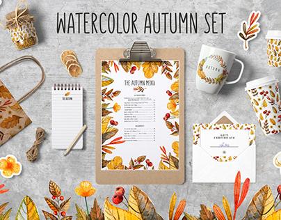 Watercolor autumnal set