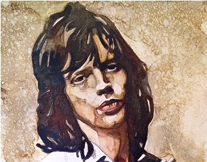 Mick Jagger Watercolor Portrait