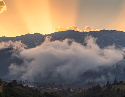 Summer Sunset in the Carpathian Mountains
