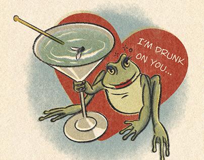 """Valentine's card """"Drunk frog"""""""