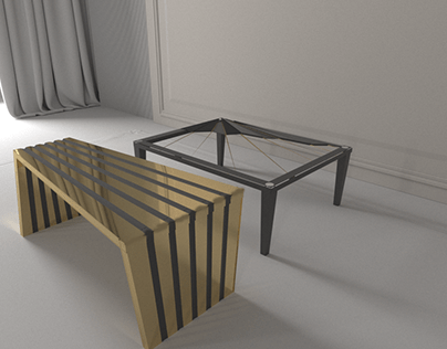 Ancient Egyptain inspired double table and storage unit