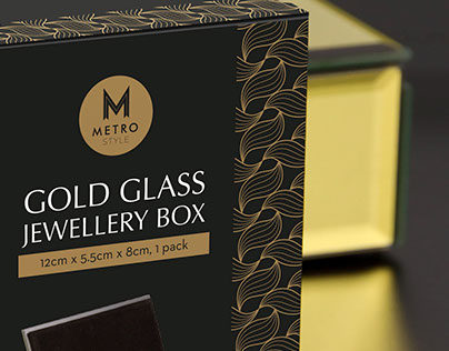 Metro Style Gold Glass Jewellery Box