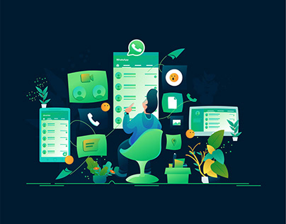 Social Media Illustration with Flat Design Style