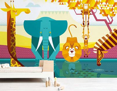 african plain :: kids wall mural
