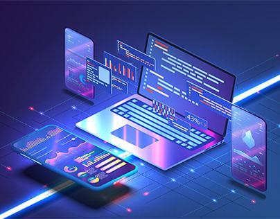 Software development, programming, coding concept, blue