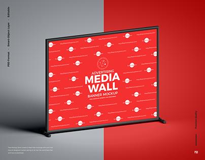 Free Media Wall Banner Mockup