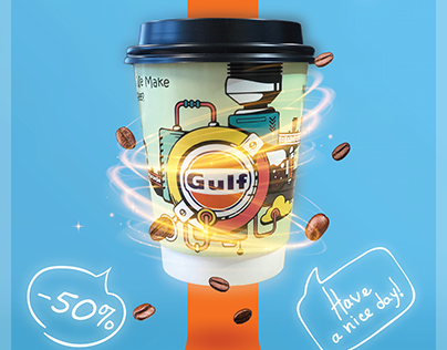 Coffee Cup and Poster Design For Gulf store