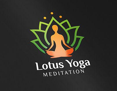 Lotus Yoga Meditation logo design concept