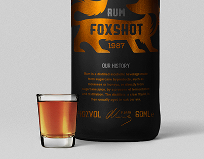 Foxshot Rum logo design