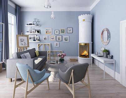 Scandinavian style. Living room
