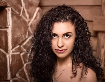 Studio photoset with curly girl