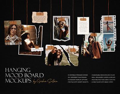 Hanging Photo Frame Mood Board Mockups