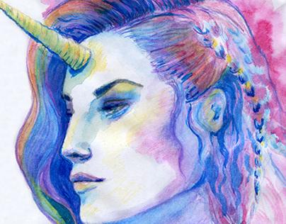 Unicorn watercolor woman