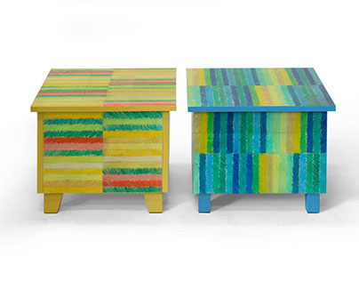 Coffee tables with colour pencil striped pattern