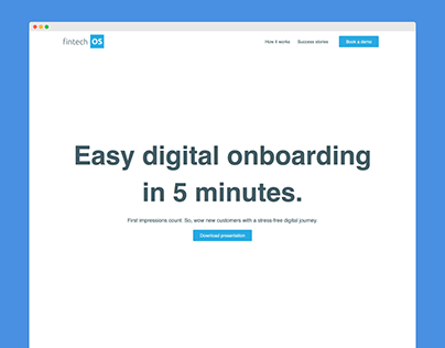 Landing page for FintechOS