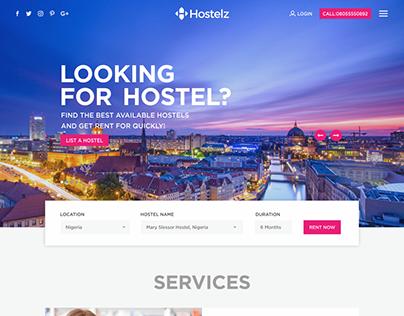 Hostel Services Website Mockup