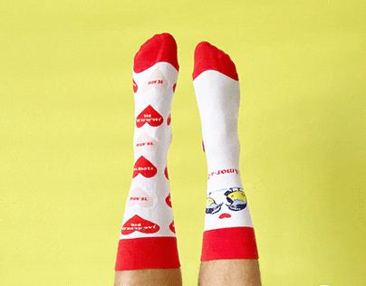 Valentine's Socks Pattern design and illustration