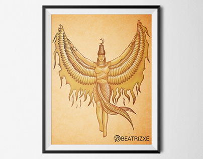 Isis, Goddess Egypt with Phoenix's wings