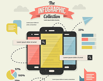 Retro Vintage Infographic Elements Poster Collection