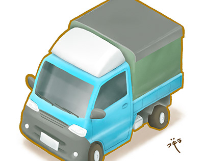 Taiwan mini truck food street culture city illustration